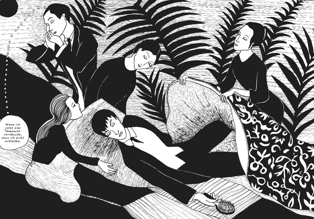Ein Mann umgeben von Frauen, Zeichnung
